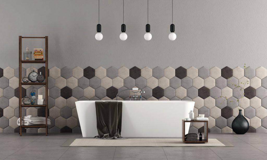 Bathroom with bathtub and hexagonal tiles